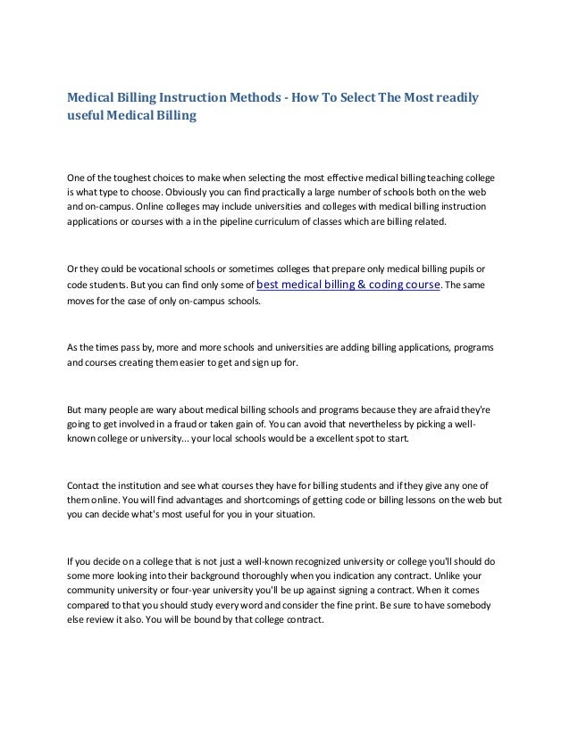 Medical Billing Instruction Methods How To Select The Most Readily