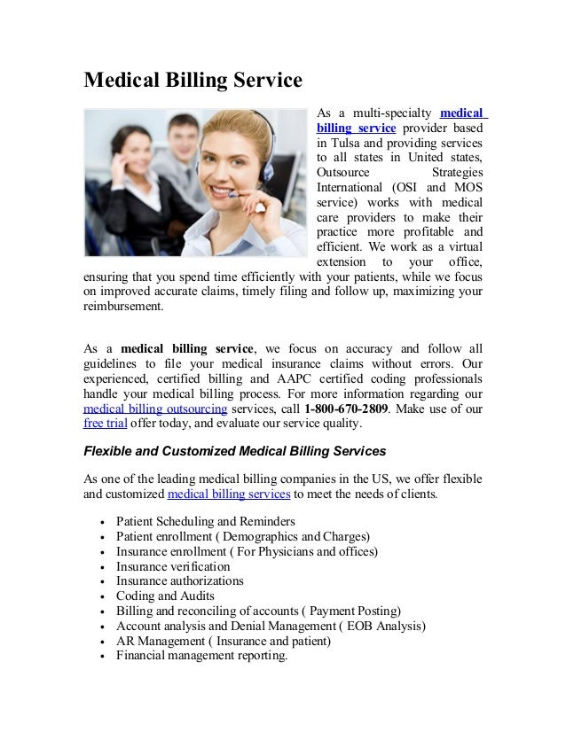 Medical Billing Service As a multi-specialty medical billing service provider based in Tulsa and providing services to all...