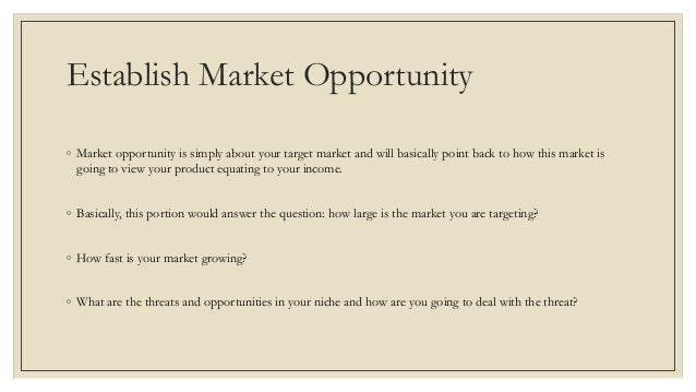 Opportunity business plan small