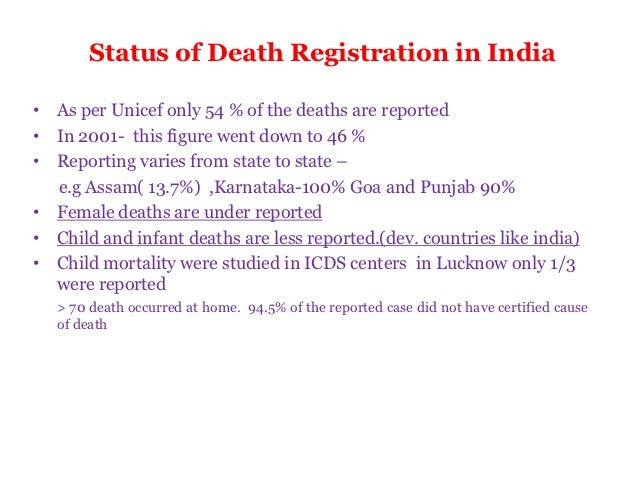 Medical certification of the cause of death 10 status of death registration in india yelopaper Choice Image