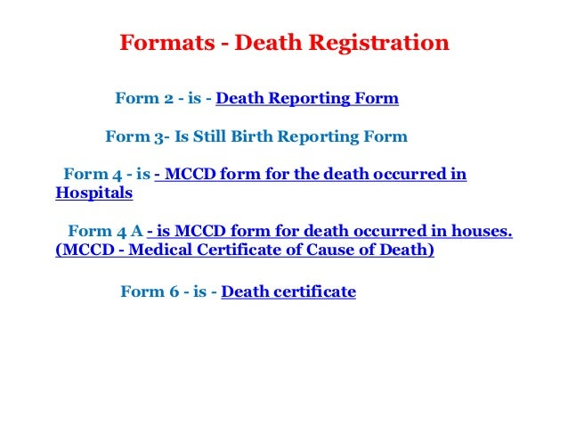 Medical certification of the cause of death form 6 20 formats death registration yelopaper Gallery