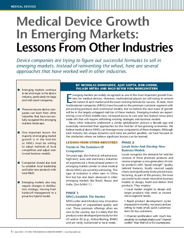 1 | June 2012 | IN VIVO: The Business & Medicine Report | www.ElsevierBI.com Medical Devices Medical Device Growth In Emer...