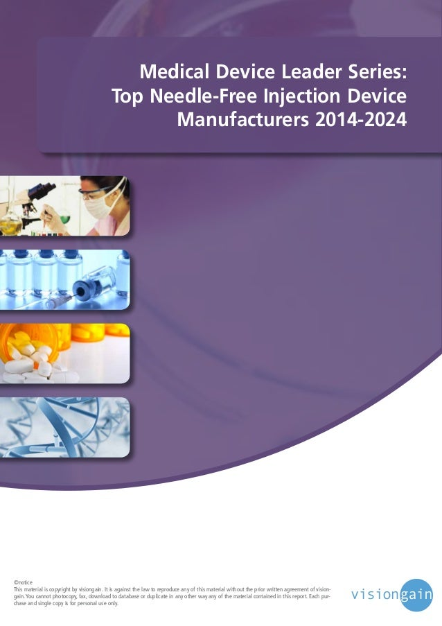 Medical Device Leader Series: Top Needle-Free Injection Device Manufacturers 2014-2024  ©notice This material is copyright...