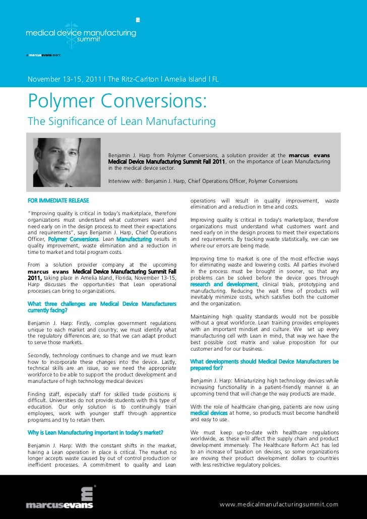 November 13-15, 2011 | The Ritz-Carlton | Amelia Island | FLPolymer Conversions:The Significance of Lean Manufacturing    ...