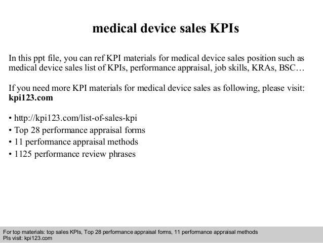 medical device sales kpis