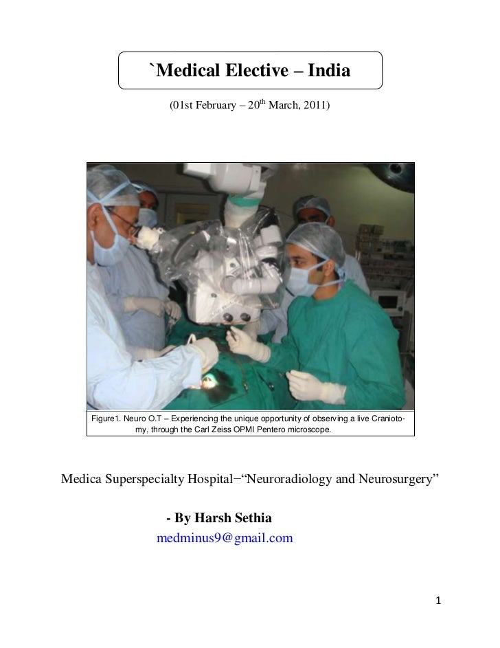 `Medical Elective – India                          (01st February – 20th March, 2011)     Figure1. Neuro O.T – Experiencin...