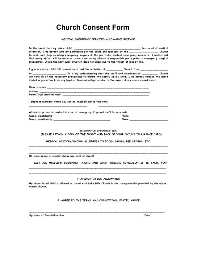 Child Medical Consent Form Printable Sample Release And Waiver Of