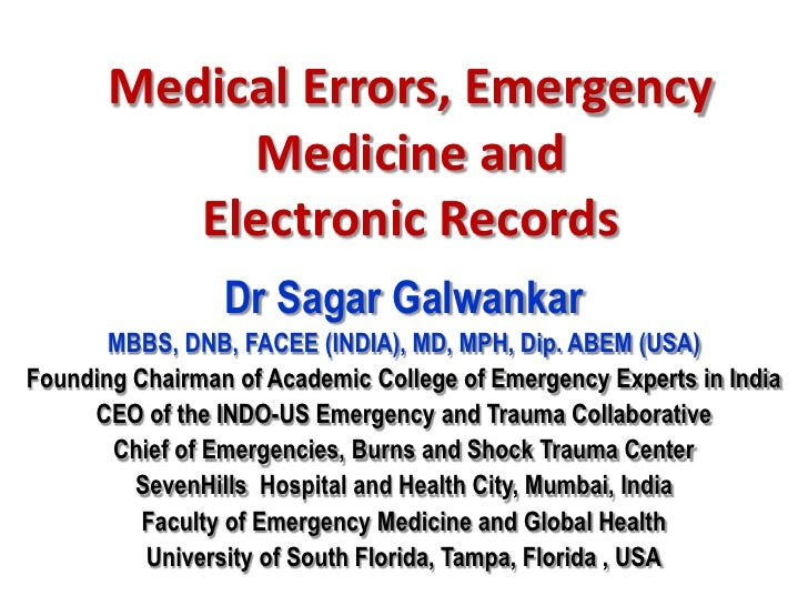 Medical errors, emergency medicine and