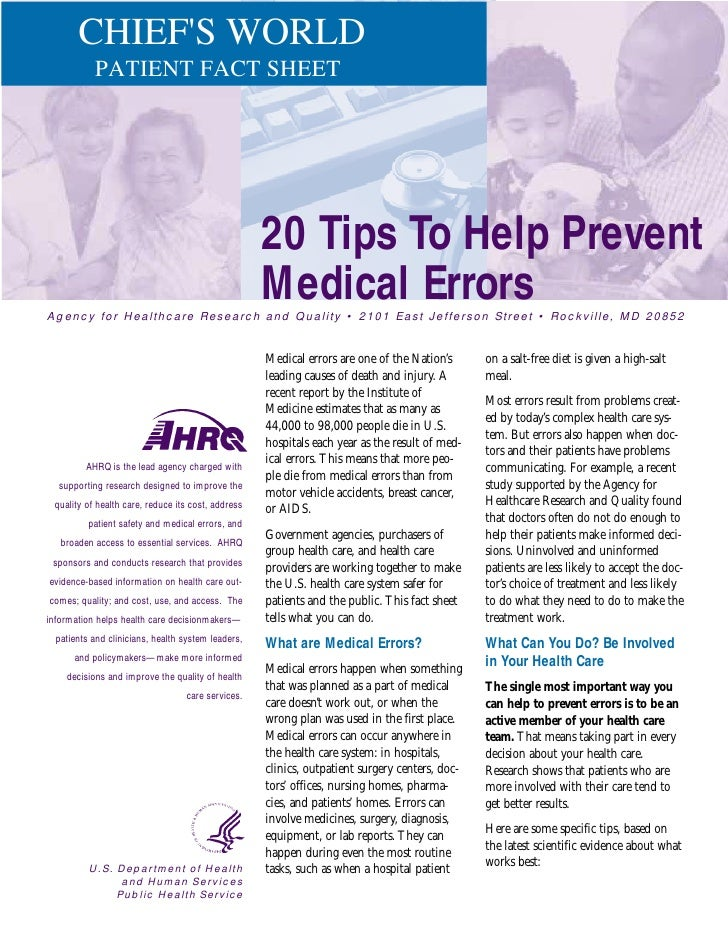 CHIEF'S WORLD            PATIENT FACT SHEET                                                         20 Tips To Help Preven...