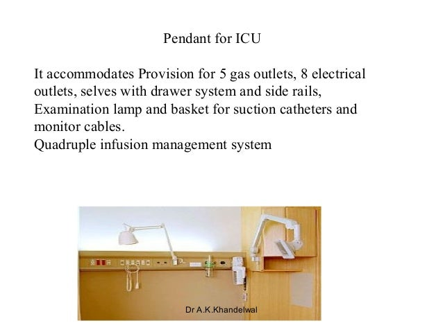 Pendant for ICU It accommodates Provision for 5 gas outlets, 8 electrical outlets, selves with drawer system and side rail...