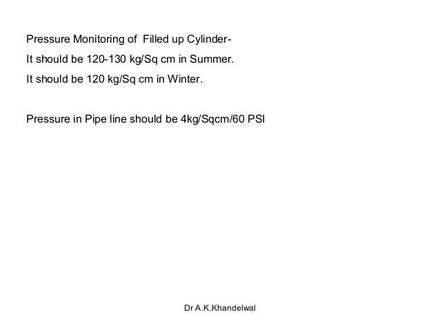 Pressure Monitoring of Filled up Cylinder- It should be 120-130 kg/Sq cm in Summer. It should be 120 kg/Sq cm in Winter. P...