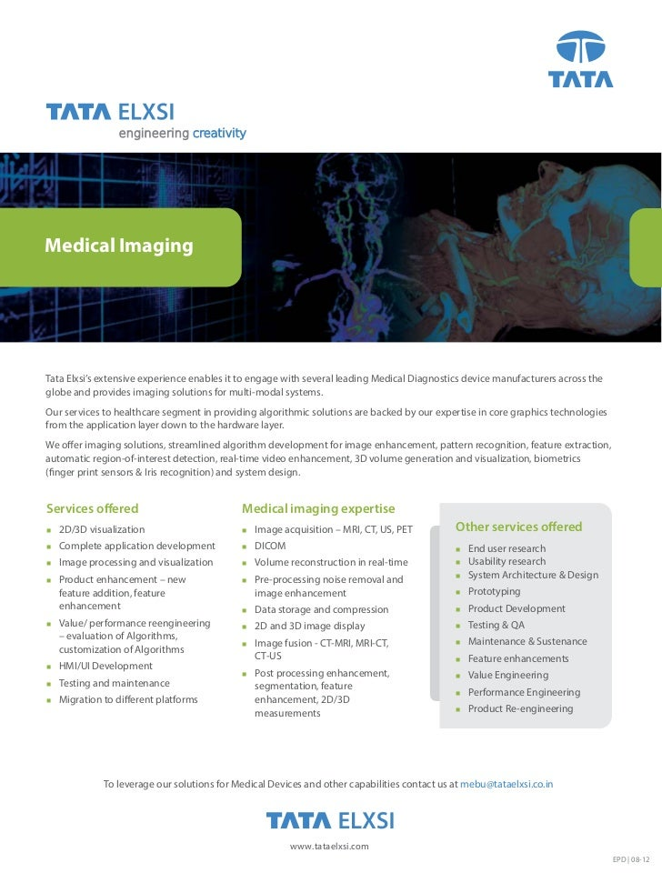 engineering creativityMedical ImagingTata Elxsi's extensive experience enables it to engage with several leading Medical D...