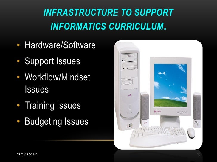 INFRASTRUCTURE TO SUPPORT                  INFORMATICS CURRICULUM .• Hardware/Software• Support Issues• Workflow/Mindset  ...