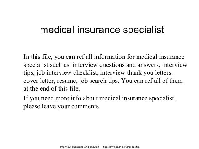 Medical insurance specialist