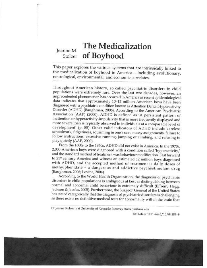 The Medicalization of Boyhood