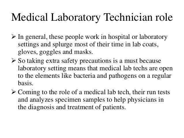 roles and responsibilities of laboratory technician