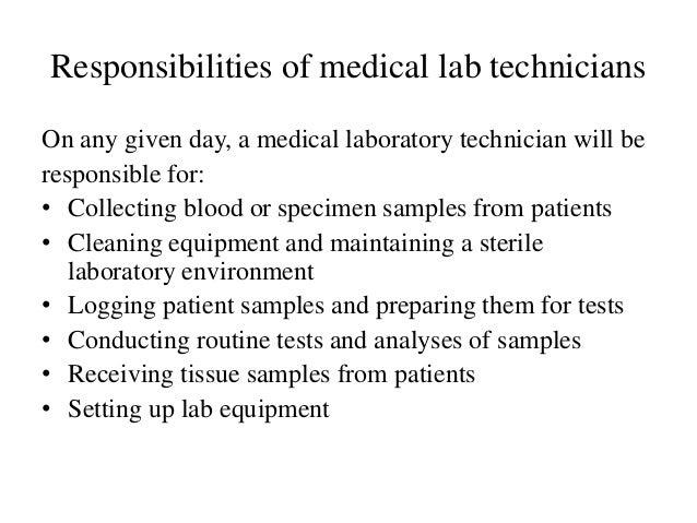 Medical laboratory technician role in a laboratory setting