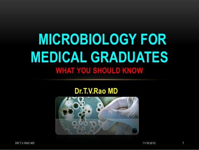 MICROBIOLOGY FOR          MEDICAL GRADUATES                WHAT YOU SHOULD KNOW                    Dr.T.V.Rao MDDR.T.V.RAO...