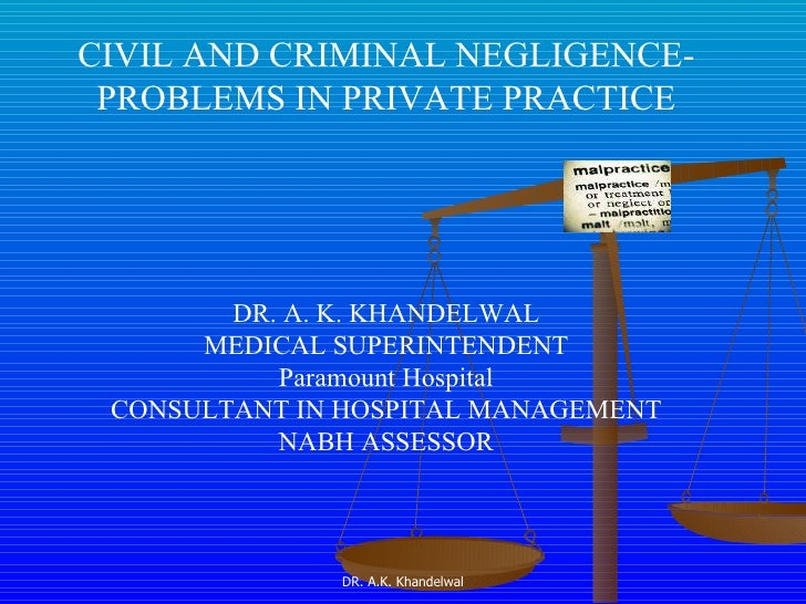 CIVIL AND CRIMINAL NEGLIGENCE- PROBLEMS IN PRIVATE PRACTICE DR. A. K. KHANDELWAL MEDICAL SUPERINTENDENT Paramount Hospital...
