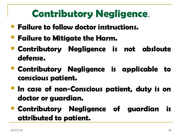 in defense of negligence In an action based on negligence, the contributory negligence of the plaintiff is a complete defense so would run a general statement of the rule still.