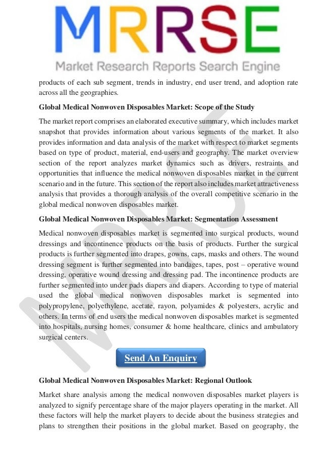 the market for medical disposables and [153 pages report] check for discount on global medical disposables industry 2016 market research report report by qyresearch group the global medical disposables industry 2016 market.