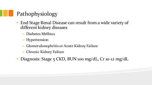 Pathophysiology • End Stage Renal Disease can result from a wide variety of different kidney diseases – Diabetes Mellitus ...