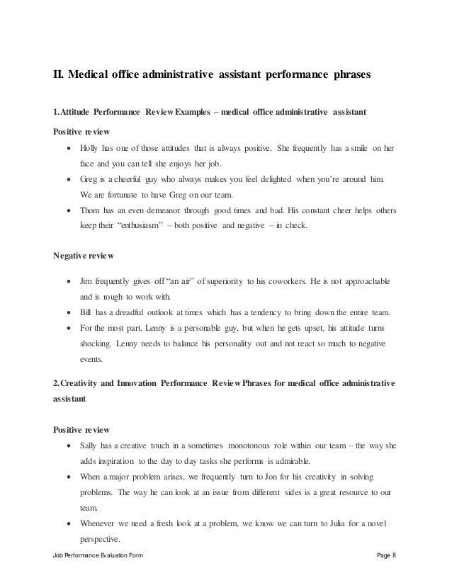 medical office administrative assistant performance appraisal. Black Bedroom Furniture Sets. Home Design Ideas