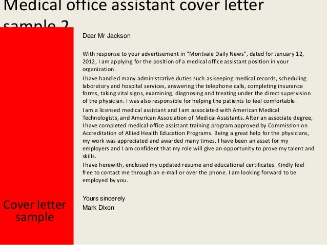 Medical office assistant cover letter for Cover letter for medical administrative assistant position