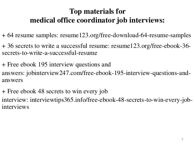 Medical Office Coordinator Resume Sample Pdf Ebook Free Download