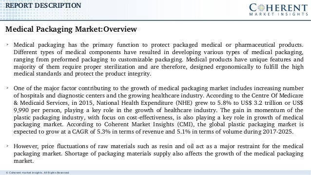 © Coherent market Insights. All Rights Reserved REPORTDESCRIPTION ➢ Medical packaging has the primary function to ...