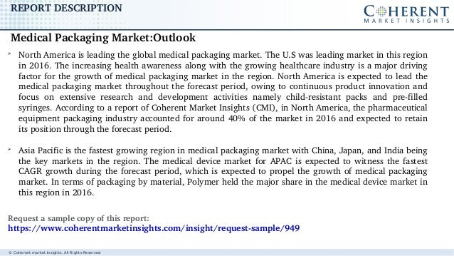 © Coherent market Insights. All Rights Reserved REPORTDESCRIPTION ➢ NorthAmericaisleadingtheglobalmedicalpackaging...