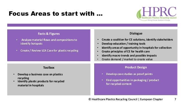 © Healthcare Plastics Recycling Council | European Chapter Focus Areas to start with … 7 • Create principles of CE for hea...