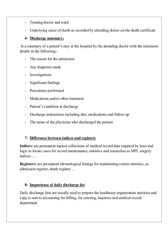 Medical Summary Template