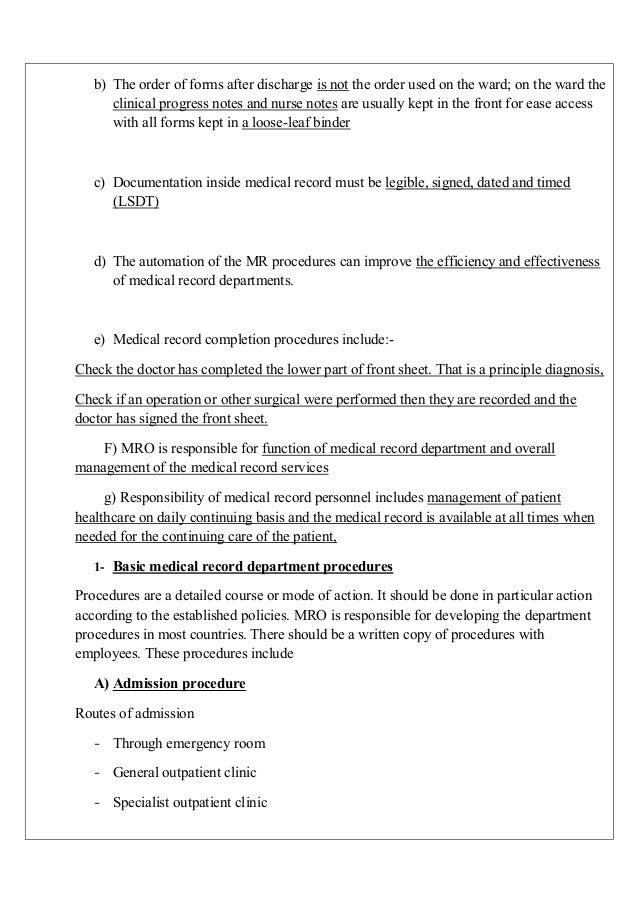... Medical Record Folder; 9. ...
