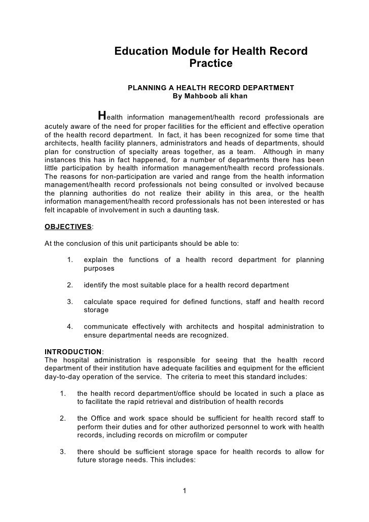 Education Module for Health Record                                      Practice                               PLANNING A ...