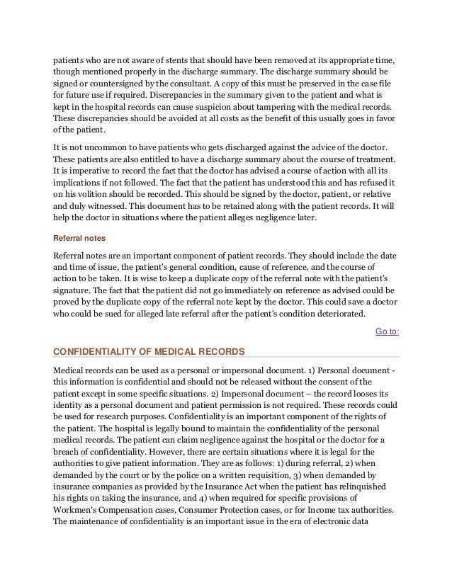 Medical record and issues in negligence