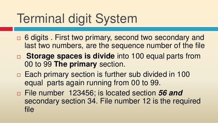 terminal digit filing system