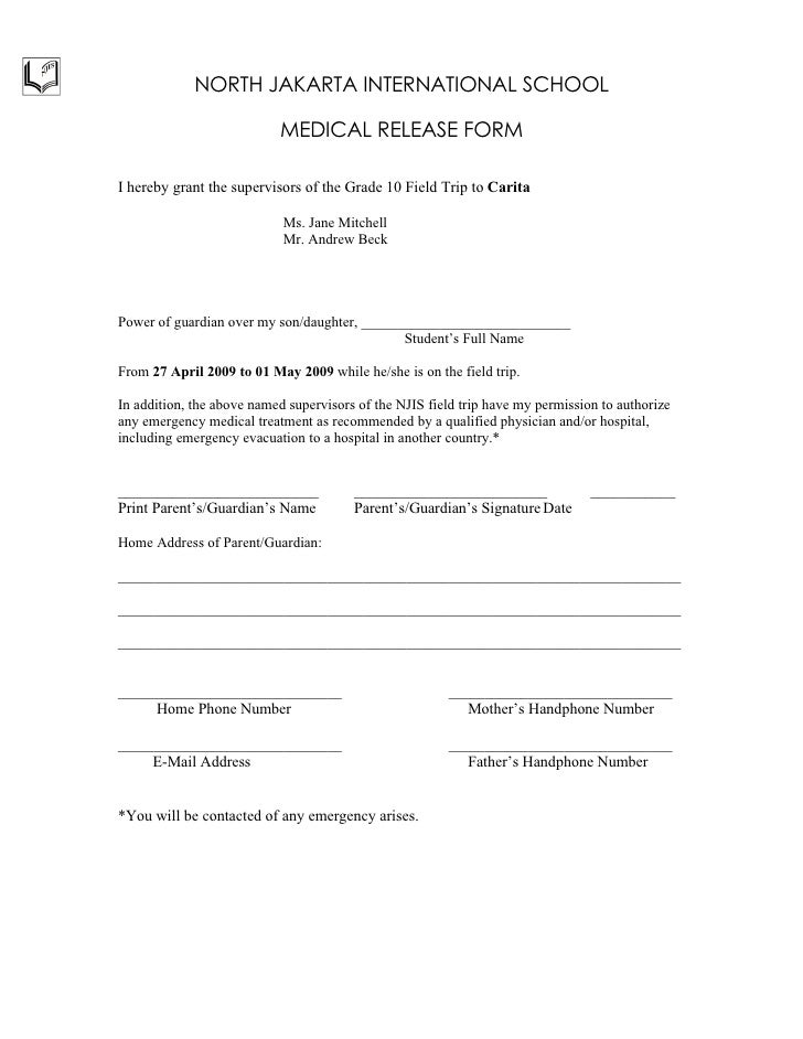 Hospital Release Form Download Consent  Release Form Summer Camp