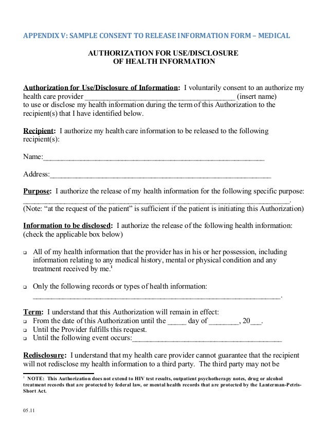 Medical release form – Records Release Form