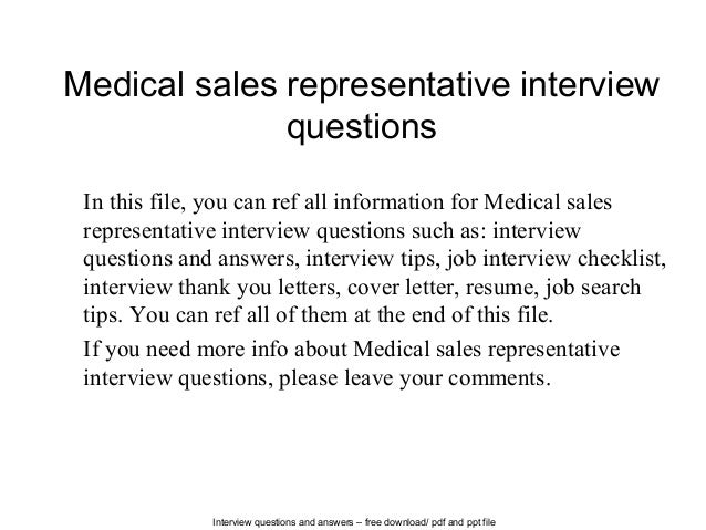 interview questions and answers free download pdf and ppt file medical sales representative interview - Cover Letter For Medical Sales Representative