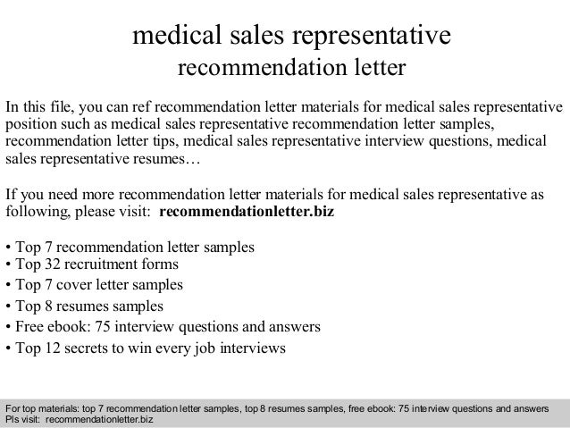Medical Sales Representative Recommendation Letter