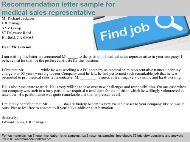 Medical sales representative recommendation letter 2 interview questions and answers free download pdf and ppt file recommendation letter sample for medical spiritdancerdesigns Image collections