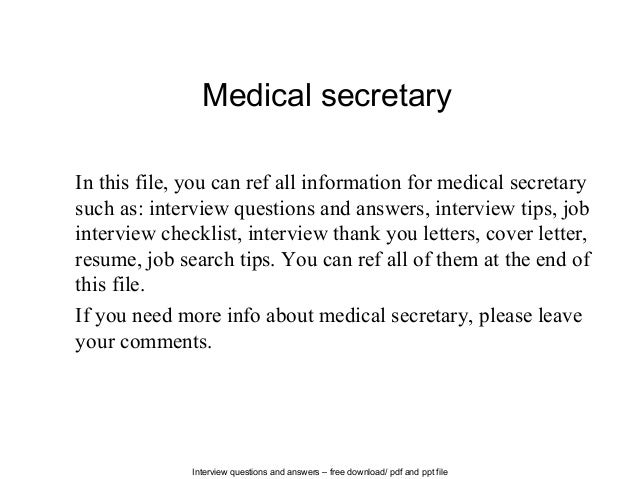 Interview Questions And Answers U2013 Free Download/ Pdf And Ppt File Medical  Secretary In This ...