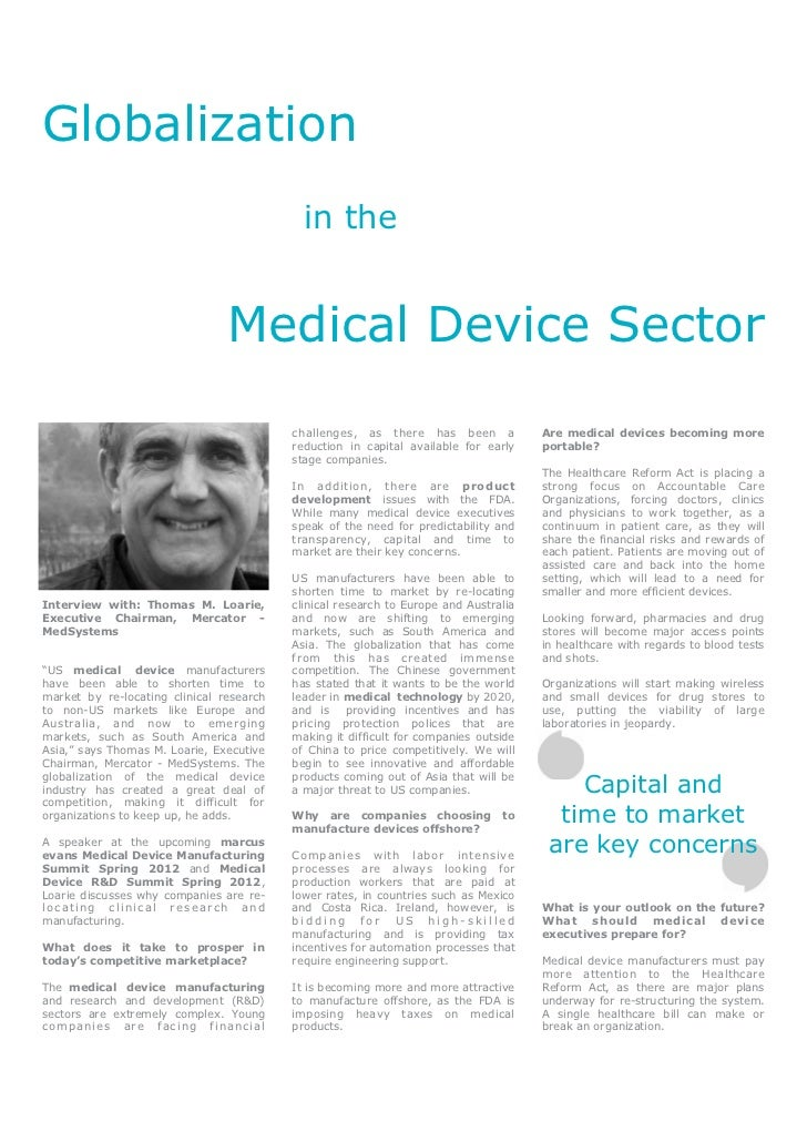 Globalization                                                   in the                                      Medical Device...