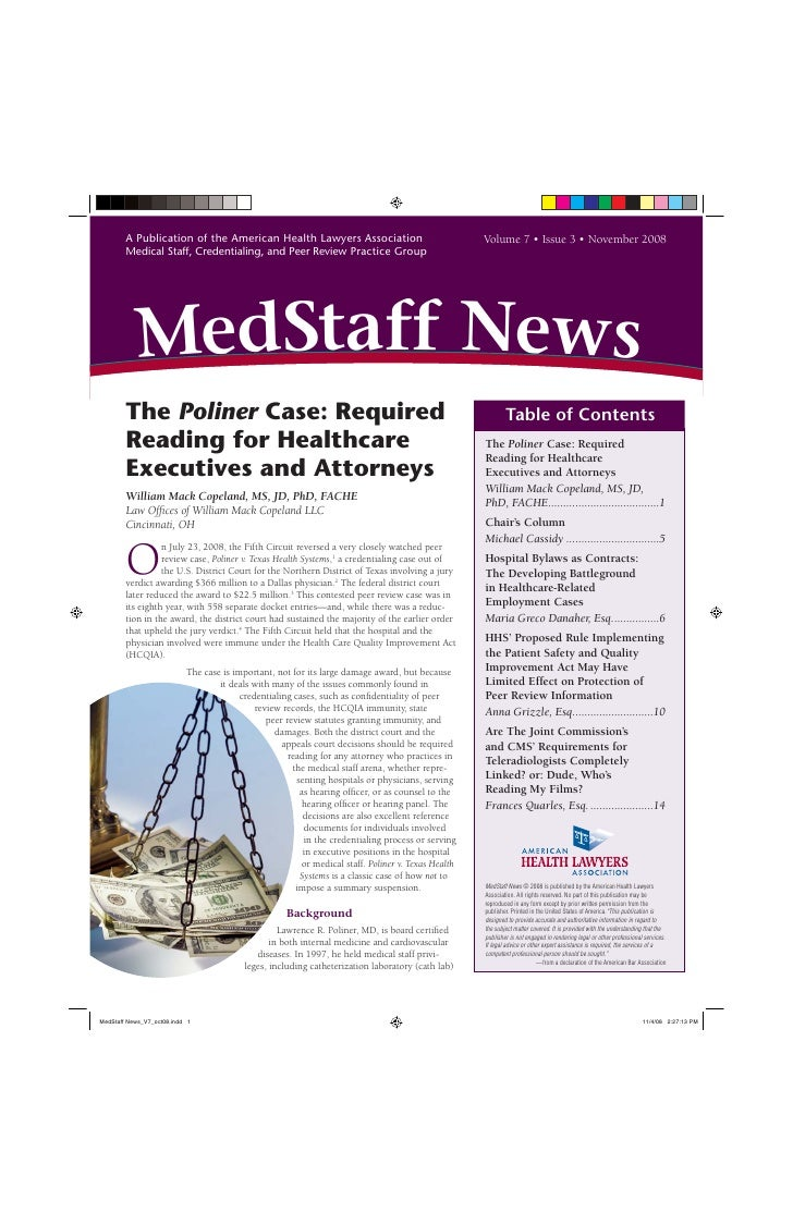 A Publication of the American Health Lawyers Association                                 Volume 7 • Issue 3 • November 200...