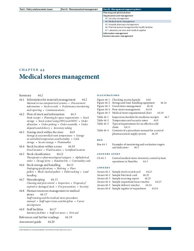 chapter 44 Medical stores management Summary44.2 44.1 Information for materials management 44.2 Manual versus compute...