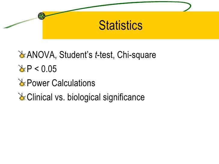 Statistics <ul><li>ANOVA, Student's  t -test, Chi-square </li></ul><ul><li>P < 0.05 </li></ul><ul><li>Power Calculations <...