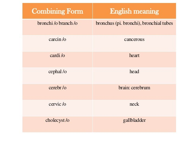 Medical terminology;combining forms