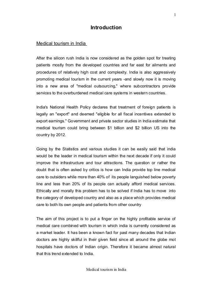 thesis on medical tourism in india