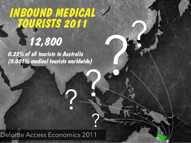 INBOUND MEDICAL TOURISTS 2011 ? ? ? ? ? 12,800 Deloitte Access Economics 2011 0.23% of all tourists to Australia (0.001% m...